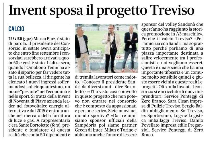 Articolo Treviso Calcio presenta Invent